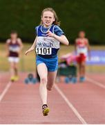 15 July 2018; Riona Doherty from Finn Valley A.C. Co Donegal who won the girls under-12 60m during the Irish Life Health National T&F Juvenile Day 2 at Tullamore Harriers Stadium in Tullamore, Co Offaly. Photo by Matt Browne/Sportsfile
