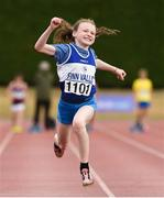 15 July 2018; Riona Doherty from Finn Valley A.C. Co Donegal celebrates after winning the girls under-12 60m during the Irish Life Health National T&F Juvenile Day 2 at Tullamore Harriers Stadium in Tullamore, Co Offaly. Photo by Matt Browne/Sportsfile