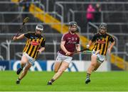 15 July 2018; Diarmuid Kilcommins of Galway in action against Jamie Harkin, left, and Conor Kelly of Kilkenny during the Electric Ireland GAA Hurling All-Ireland Minor Championship match between Galway and Kilkenny at Semple Stadium, Thurles, Co Tipperary. Photo by Ray McManus/Sportsfile