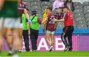 15 July 2018; Eoghan Kerin of Galway leaves the field after being sent off by referee Barry Cassidy during the GAA Football All-Ireland Senior Championship Quarter-Final Group 1 Phase 1 match between Kerry and Galway at Croke Park, Dublin. Photo by Piaras Ó Mídheach/Sportsfile