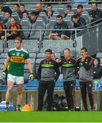 15 July 2018; Kerry manager Éamonn Fitzmaurice, left, with selectors Liam Hassett, centre, and Maurice Fitzgerald during the GAA Football All-Ireland Senior Championship Quarter-Final Group 1 Phase 1 match between Kerry and Galway at Croke Park, Dublin. Photo by Piaras Ó Mídheach/Sportsfile
