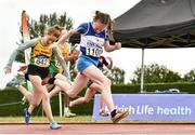 15 July 2018; Riona Doherty from Finn Valley A.C., Co Donegal, celebrates after winning the girls under-12 60m during the Irish Life Health National T&F Juvenile Day 2 at Tullamore Harriers Stadium in Tullamore, Co Offaly. Photo by Matt Browne/Sportsfile