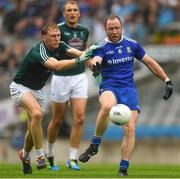 15 July 2018; Vinny Corey of Monaghan in action against Paul Cribbin of Kildare as Tommy Moolick looks on during the GAA Football All-Ireland Senior Championship Quarter-Final Group 1 Phase 1 match between Kildare and Monaghan at Croke Park, Dublin. Photo by Piaras Ó Mídheach/Sportsfile