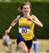 15 July 2018; Aisling Kelly from Taghmon A.C. Co Wexford who won the girls under-16 100m during the Irish Life Health National T&F Juvenile Day 2 at Tullamore Harriers Stadium in Tullamore, Co Offaly. Photo by Matt Browne/Sportsfile