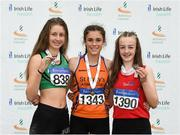 15 July 2018; Laura Frawley from St. Marys Limerick A.C. Co Limerick who won the girls under-15 long jump with second place Katie Nolke from Ferrybank A.C. Co Waterford and third place Niamh Moohanfrom from Tir Chonaill A.C. Co Donegal during the Irish Life Health National T&F Juvenile Day 2 at Tullamore Harriers Stadium in Tullamore, Co Offaly. Photo by Matt Browne/Sportsfile