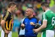 15 July 2018; Referee James McGrath speaking to the two captains, Cillian Buckley, Kilkenny , and Emmet McEvoy, Limerick, before the GAA Hurling All-Ireland Senior Championship Quarter-Final match between Kilkenny and Limerick at Semple Stadium, Thurles, Co Tipperary Photo by Ray McManus/Sportsfile