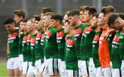 14 July 2018; Mayo players stand for Amhrán na bhFiann before the EirGrid GAA Football All-Ireland U20 Championship Semi-Final match between Mayo and Derry at Páirc Seán Mac Diarmada, in Carrick-on-Shannon. Photo by Piaras Ó Mídheach/Sportsfile