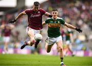 15 July 2018; Johnny Heaney of Galway in action against Seán O'Shea of Kerry during the GAA Football All-Ireland Senior Championship Quarter-Final Group 1 Phase 1 match between Kerry and Galway at Croke Park, Dublin. Photo by David Fitzgerald/Sportsfile
