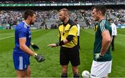 15 July 2018; Referee Anthony Nolan with team captains Drew Wylie of Monaghan and Eoin Doyle of Kildare before the GAA Football All-Ireland Senior Championship Quarter-Final Group 1 Phase 1 match between Kildare and Monaghan at Croke Park, Dublin. Photo by Piaras Ó Mídheach/Sportsfile