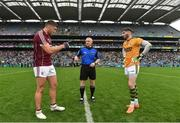 15 July 2018; Referee Barry Cassidy with team captains Damien Comer of Galway and Shane Murphy of Kerry before the GAA Football All-Ireland Senior Championship Quarter-Final Group 1 Phase 1 match between Kerry and Galway at Croke Park, Dublin. Photo by Piaras Ó Mídheach/Sportsfile