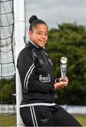 16 July 2018; Rianna Jarrett of Wexford Youth Womens FC with her Continental Tyres Women's National League Player of the Month award for June, at Ferrycarrig Park, in Wexford. Photo by Seb Daly/Sportsfile