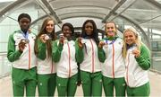 16 July 2018; Ireland's silver medal winners, from left, Rhasidat Adeleke of Tallaght AC, Co Dublin, Sommer Lecky of Finn Valley AC, Co Donegal, Gina Akpe-Moses of Blackrock AC, Co Louth, Patience Jumbo-Gula of St Gerard's AC, Dundalk, Co Louth, Ciara Neville of Emerald AC, Co Limerick, and Molly Scott of St Laurence O'Toole AC, Co Carlow, during the Team Ireland homecoming from the IAAF World U20 Athletics Championships in Tampere, Finland, at Dublin Airport in Dublin. Photo by Piaras Ó Mídheach/Sportsfile