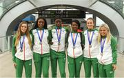 16 July 2018; Ireland's silver medal winners, from left, Lauren Roy of City of Lisburn AC, Co Antrim, Patience Jumbo-Gula of St Gerard's AC, Dundalk, Co Louth, Rhasidat Adeleke of Tallaght AC, Co Dublin, Gina Akpe-Moses of Blackrock AC, Co Louth, Ciara Neville of Emerald AC, Co Limerick, and Molly Scott of St Laurence O'Toole AC, Co Carlow, during the Team Ireland homecoming from the IAAF World U20 Athletics Championships in Tampere, Finland, at Dublin Airport in Dublin. Photo by Piaras Ó Mídheach/Sportsfile