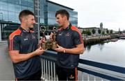 17 July 2018; Galway's Shane Walsh and Cork's Patrick Horgan have been voted as the PwC GAA/GPA Players of the Month for June in football and hurling respectively. Pictured are Patrick Horgan of Cork, left, and Shane Walsh of Galway after being presented with their PwC GAA/GPA Player of the Month Awards at a reception in PwC Offices, Cork. Photo by Brendan Moran/Sportsfile