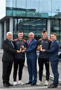 17 July 2018; Galway's Shane Walsh and Cork's Patrick Horgan have been voted as the PwC GAA/GPA Players of the Month for June in football and hurling respectively. Pictured are, from left, Munster Council chairman Jerry O'Sullivan, representing the GAA, Patrick Horgan of Cork, Ger O'Mahoney, Senior Partner, PwC Cork, Shane Walsh of Galway and Noel Connors, GPA, at PwC GAA/GPA Player of the Month Awards at a reception in PwC Offices, Cork. Photo by Brendan Moran/Sportsfile