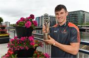 17 July 2018; Galway's Shane Walsh and Cork's Patrick Horgan have been voted as the PwC GAA/GPA Players of the Month for June in football and hurling respectively. Pictured is Shane Walsh of Galway after being presented with his PwC GAA/GPA Player of the Month Award at a reception in PwC Offices, Cork. Photo by Brendan Moran/Sportsfile
