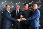 17 July 2018; Galway's Shane Walsh and Cork's Patrick Horgan have been voted as the PwC GAA/GPA Players of the Month for June in football and hurling respectively. Pictured are, from left, Noel Connors, GPA, Munster Council Chairman Jerry O'Sullivan, representing the GAA, Shane Walsh of Galway and Ger O'Mahoney, Senior Partner, PwC, at the PwC GAA/GPA Player of the Month Awards at a reception in PwC Offices, Cork. Photo by Brendan Moran/Sportsfile