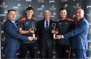 17 July 2018; Galway's Shane Walsh and Cork's Patrick Horgan have been voted as the PwC GAA/GPA Players of the Month for June in football and hurling respectively. Pictured are, from left, Noel Connors, GPA, Shane Walsh of Galway, Munster Council Chairman Jerry O'Sullivan, representing the GAA, Patrick Horgan of Cork and Ger O'Mahoney, Senior Partner, PwC, at the PwC GAA/GPA Player of the Month Awards at a reception in PwC Offices, Cork. Photo by Brendan Moran/Sportsfile