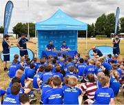 17 July 2018; Participants take part in a Q&A session with Leinster players Scott Fardy and Sean O'Brien during the Bank of Ireland Leinster Rugby Summer Camp at Tullow RFC, in Roscat, Tullow, Co. Carlow. Photo by Seb Daly/Sportsfile