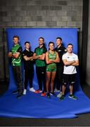 17 July 2018; Irish athletes, from left, Russell White, Rhys McClenaghan, Thomas Barr, Phil Healy, Darragh Greene and Oliver Dingley prior to departure for the Glasgow/Berlin 2018 European Championships, from the 2nd of August to the 12th of August 2018, pictured at the Sport Ireland National Sports Campus in Abbotstown, Dublin. Photo by David Fitzgerald/Sportsfile