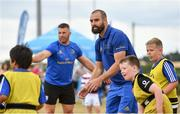 17 July 2018; Leinster's Scott Fardy, right, and Sean O'Brien in action with participants during the Bank of Ireland Leinster Rugby Summer Camp at Tullow RFC, in Roscat, Tullow, Co. Carlow. Photo by Seb Daly/Sportsfile