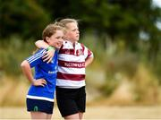 17 July 2018; Aoibhínn Doyle, left, age 12, from Rathvilly, Co. Carlow, and Isabelle Donnaghy, age 12, from Garryhill, Co. Carlow during the Bank of Ireland Leinster Rugby Summer Camp at Tullow RFC, in Roscat, Tullow, Co. Carlow. Photo by Seb Daly/Sportsfile