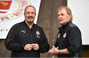 17 July 2018; Newcastle United manager Rafael Benítez, left, and St Patrick's Athletic manager Liam Buckley in conversation ahead of the friendly match between St Patrick's Athletic and Newcastle United at Richmond Park in Inchicore, Dublin. Photo by Sam Barnes/Sportsfile