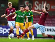 17 July 2018; Sean Maguire of Preston North End is tackled by Ben O'Riordan of Cobh Ramblers during the friendly match between Cobh Ramblers and Preston North End at Turners Cross in Cork. Photo by Brendan Moran/Sportsfile