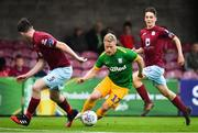 17 July 2018; Daryl Horgan of Preston North End in action against James McSweeney, left, and Stephen O'Connor of Cobh Ramblers during the friendly match between Cobh Ramblers and Preston North End at Turners Cross in Cork. Photo by Brendan Moran/Sportsfile