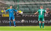 17 July 2018: Cork City goalkeeper, Peter Cherrie talks to Conor McCormack of Cork City during the UEFA Champions League 1st Qualifying Round Second Leg match between Legia Warsaw and Cork City at the Polish Army Stadium in Warsaw, Poland. Photo by Lukasz Grochala/Sportsfile