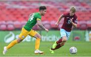 17 July 2018; Sean Maguire of Preston North End in action against David Hurley of Cobh Ramblers during the friendly match between Cobh Ramblers and Preston North End at Turners Cross in Cork. Photo by Brendan Moran/Sportsfile