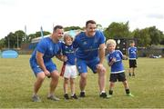 18 July 2018; Leinster player's Bryan Byrne and Peter Dooley with George Conway and Jack Moore during the Bank of Ireland Leinster Rugby Summer Camp at Portlaoise RFC in Togher, Portlaoise, Co. Laois. Photo by Matt Browne/Sportsfile
