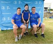 18 July 2018; Leinster player's Bryan Byrne and Peter Dooley with Laura Walsh during the Bank of Ireland Leinster Rugby Summer Camp at Portlaoise RFC in Togher, Portlaoise, Co. Laois. Photo by Matt Browne/Sportsfile