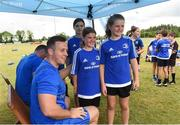 18 July 2018; Leinster player Bryan Byrne with Jessica Coooper and Ciara Peavoy during the Bank of Ireland Leinster Rugby Summer Camp at Portlaoise RFC in Togher, Portlaoise, Co. Laois. Photo by Matt Browne/Sportsfile