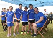 18 July 2018; Leinster player Peter Dooley with Erin Fitzpatrick, Jane Lalor, Jessica Coooper and Ciara Peavoy during the Bank of Ireland Leinster Rugby Summer Camp at Portlaoise RFC in Togher, Portlaoise, Co. Laois. Photo by Matt Browne/Sportsfile