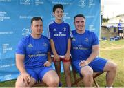 18 July 2018; Leinster player's Bryan Byrne and Peter Dooley with Oisin Hade during the Bank of Ireland Leinster Rugby Summer Camp at Portlaoise RFC, Togher, Portlaoise, Co. Laois. Photo by Matt Browne/Sportsfile
