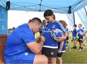 18 July 2018; Leinster player Bryan Byrne with Amy Lalor during the Bank of Ireland Leinster Rugby Summer Camp at Portlaoise RFC in Togher, Portlaoise, Co. Laois. Photo by Matt Browne/Sportsfile