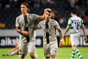 19 July 2018; Kristoffer Olsson and Nicolas Stefanelli of AIK celebrate following the UEFA Europa League 1st Qualifying Round Second Leg match between AIK and Shamrock Rovers at Friends Arena in Stockholm, Sweden. Photo by Simon Hastegård/Sportsfile