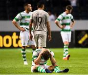 19 July 2018; A dejected Lee Grace following the UEFA Europa League 1st Qualifying Round Second Leg match between AIK and Shamrock Rovers at Friends Arena in Stockholm, Sweden. Photo by Simon Hastegård/Sportsfile