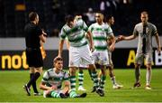 19 July 2018; A dejected Lee Grace, left, and Joey O'Brien following the UEFA Europa League 1st Qualifying Round Second Leg match between AIK and Shamrock Rovers at Friends Arena in Stockholm, Sweden. Photo by Simon Hastegård/Sportsfile