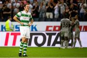 19 July 2018; A dejected Joey O'Brien of Shamrock Rovers reacts during the UEFA Europa League 1st Qualifying Round Second Leg match between AIK and Shamrock Rovers at Friends Arena in Stockholm, Sweden. Photo by Simon Hastegård/Sportsfile