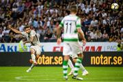19 July 2018; Ahmed Yasin of AIK shoots on goal during the UEFA Europa League 1st Qualifying Round Second Leg match between AIK and Shamrock Rovers at Friends Arena in Stockholm, Sweden. Photo by Simon Hastegård/Sportsfile