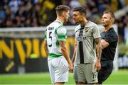 19 July 2018; Ahmed Yasin of AIK and Lee Grace of Shamrock Rovers during the UEFA Europa League 1st Qualifying Round Second Leg match between AIK and Shamrock Rovers at Friends Arena in Stockholm, Sweden. Photo by Simon Hastegård/Sportsfile