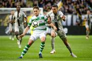 19 July 2018; Lee Grace of Shamrock Rovers in action against Ahmed Yasin of AIK during the UEFA Europa League 1st Qualifying Round Second Leg match between AIK and Shamrock Rovers at Friends Arena in Stockholm, Sweden. Photo by Simon Hastegård/Sportsfile