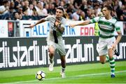 19 July 2018; Ahmed Yasin of AIK in action against Lee Grace of Shamrock Rovers during the UEFA Europa League 1st Qualifying Round Second Leg match between AIK and Shamrock Rovers at Friends Arena in Stockholm, Sweden. Photo by Simon Hastegård/Sportsfile