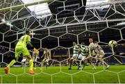 19 July 2018; Dan Carr of Shamrock Rovers scores his side's first goal during the UEFA Europa League 1st Qualifying Round Second Leg match between AIK and Shamrock Rovers at Friends Arena in Stockholm, Sweden. Photo by Simon Hastegård/Sportsfile