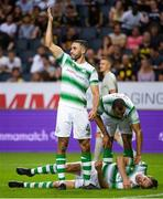 19 July 2018; Roberto Lopez of Shamrock Rovers callson medical attention for team-mate Joey O'Brien during the UEFA Europa League 1st Qualifying Round Second Leg match between AIK and Shamrock Rovers at Friends Arena in Stockholm, Sweden. Photo by Simon Hastegård/Sportsfile