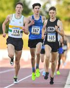 19 July 2018; Cian Kelly of St. Abbans, Co Carlow, left, on his way to winning the Harrier Products Men's Junior Mile , ahead of Michael Power of West Waterford AC, Co Waterford, centre, and Daire Finn of Dublin City Harriers AC, Co Dublin, during the Morton Games at Morton Stadium in Santry, Dublin. Photo by Sam Barnes/Sportsfile