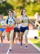 19 July 2018; Alanna Lally of UCD AC, Co Dublin, right, and Stephanie Cotter of West Muskerry AC, Co Cork, competing in the IMC 800m Women event during the Morton Games at Morton Stadium in Santry, Dublin. Photo by Sam Barnes/Sportsfile