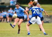 21 July 2018; Niamh McEvoy of Dublin in action against Ailish Cornyn of Cavan during the TG4 All-Ireland Senior Championship Group 4 Round 2 match between Cavan and Dublin at Lannleire GFC in Dunleer, Co. Louth. Photo by Oliver McVeigh/Sportsfile
